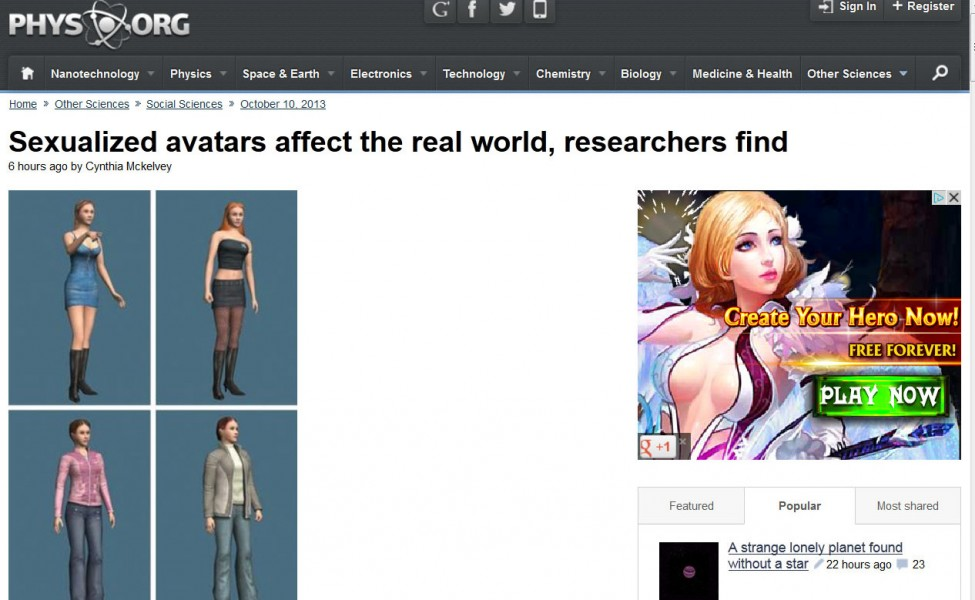 PhysOrg sexualized avatars screenshot