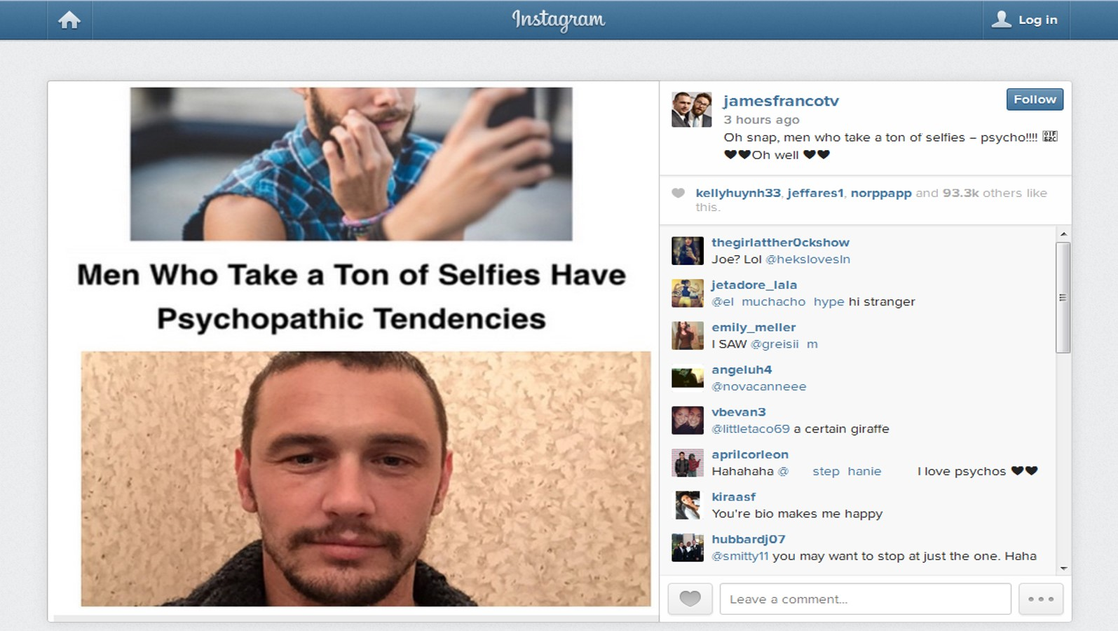 James Franco selfie psycho